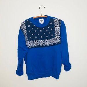 Vintage Retro 90's Bandanna Blue Sweatshirt